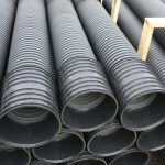 warehouse of the corrugated pipes of plastic for laying an optic